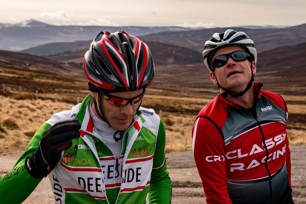 David and Iain having a quick stop at the summit of the Gairnshiel.