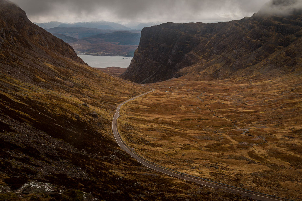 David and Iain working their way up the road of the Bealach.