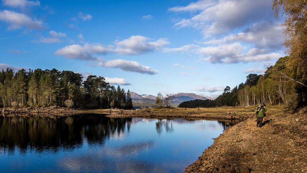 Jason wandering the shore of Loch Beinn A' Mheadhoin.