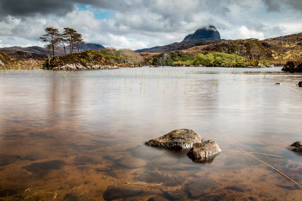 A cloud topped Suilven from Loch Druim Suardalain.