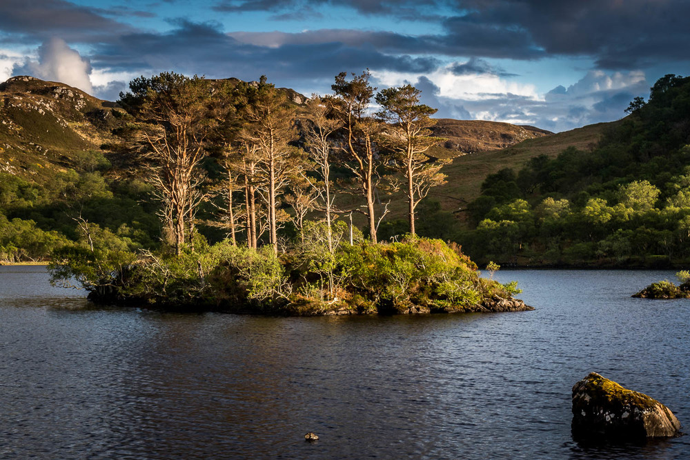 Loch Druim Suardalain in the afternoon sun.