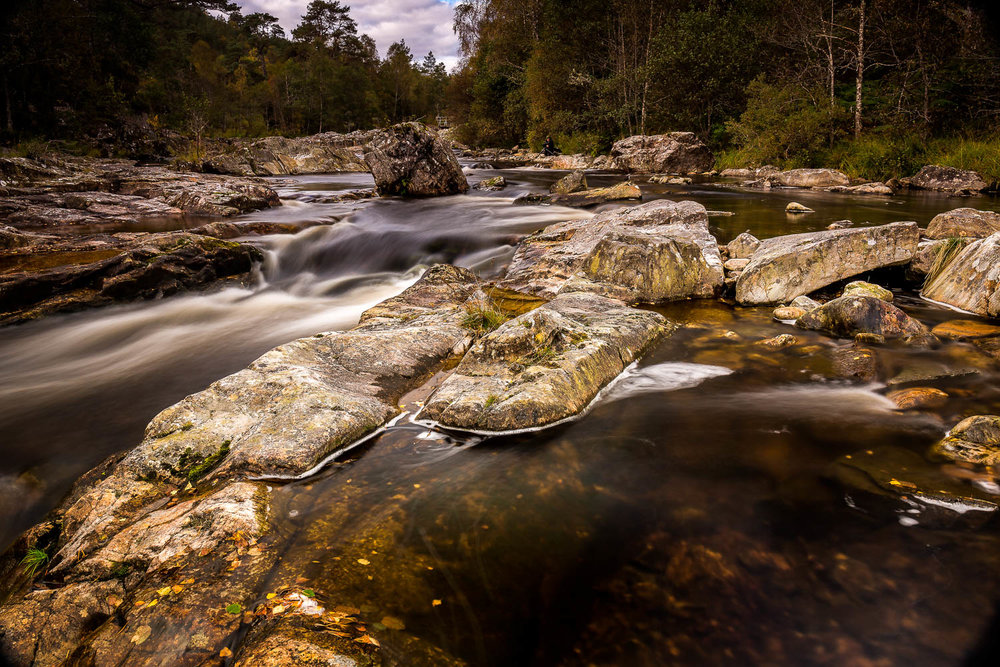 The rapids on the River Affric as the water flows past the Dog Falls car park.