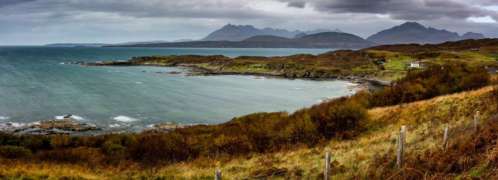 Looking toward the Black Cuillins from Tarskavaig with the Elgol Peninsula in the middle distance.