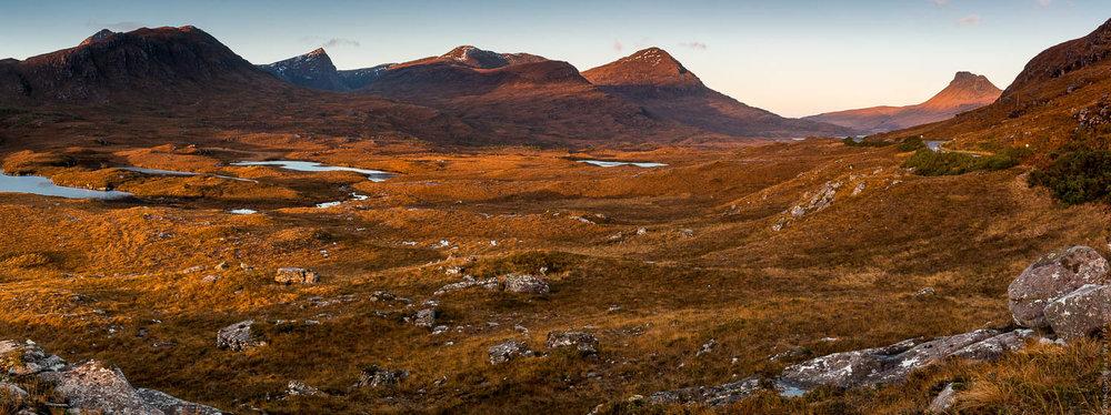 Sunrise over the peaks of Coigach & Assynt.
