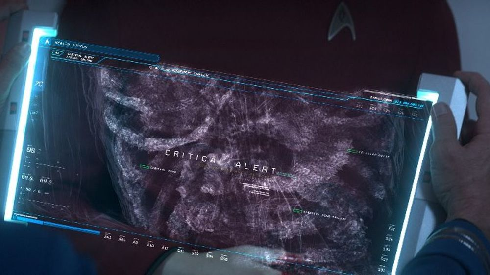 A dashboard that allows crew members in Star Trek Beyond to pull data together from various sources. (Image: HPE)