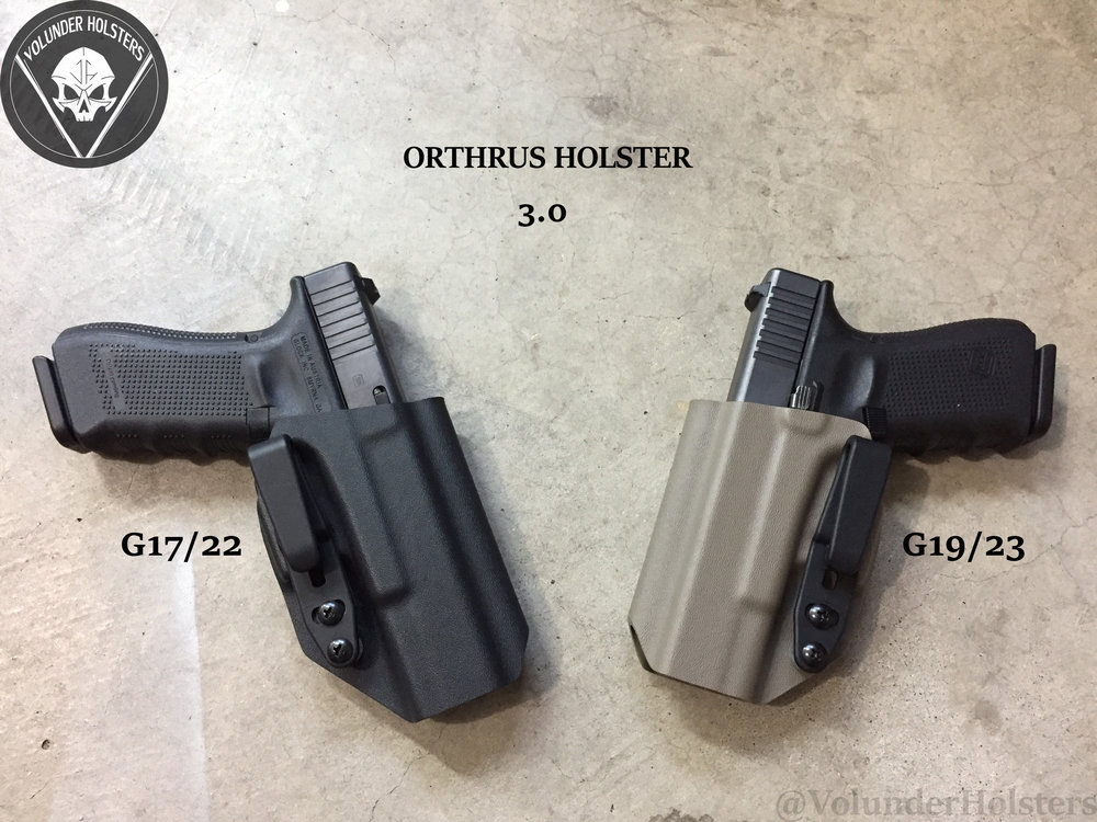 Orthrus 3 Glock 17 and G19 black and fde kydex cement background v1.jpg