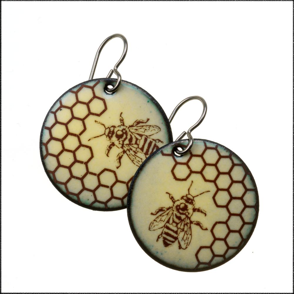 Honey Bee and Honeycomb Earrings