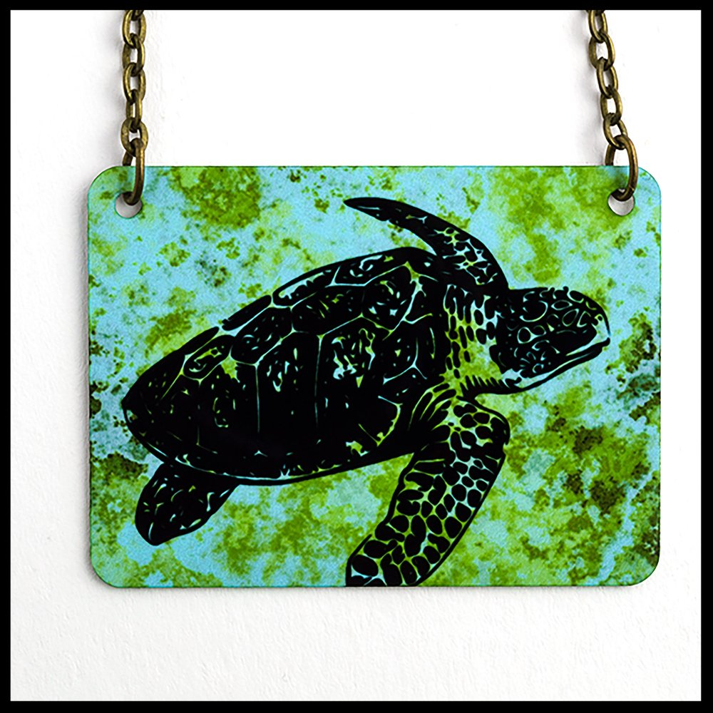 Sea Turtle Rectangle Necklace