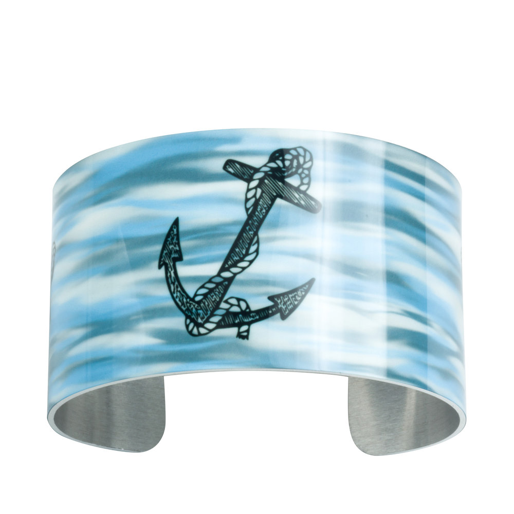 Anchor Wide Cuff Bracelet