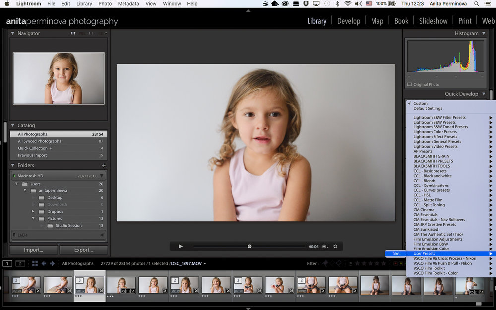 color grade your videos in LR by Anita Perminova Amsterdam Photogrpaher step 4 apply a preset