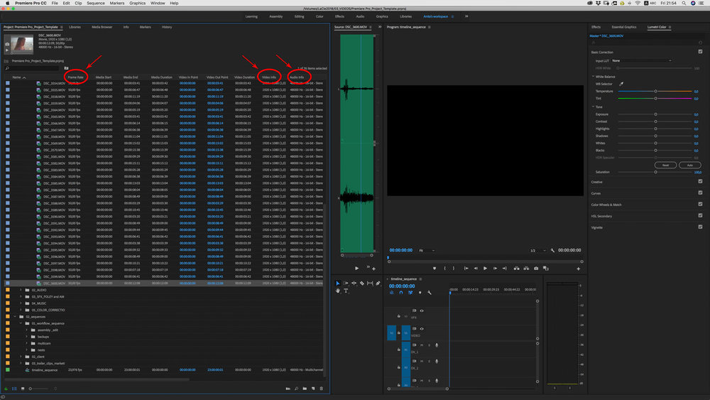 premiere pro create new sequence file info
