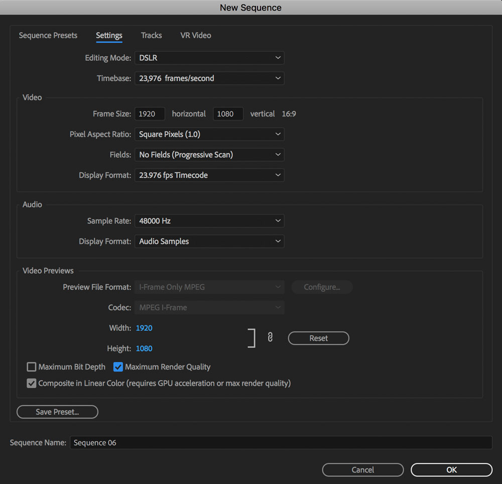 premiere pro create new sequence preset