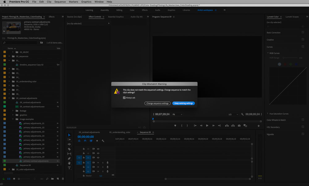 premiere pro new sequence
