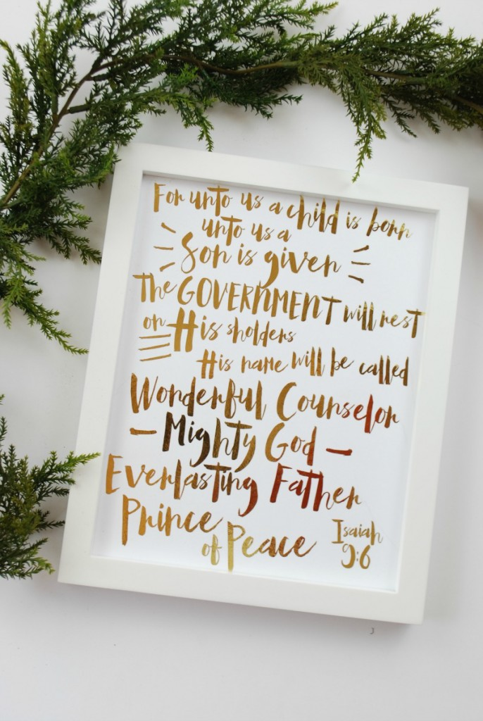 Gold Foil Christmas Print Isaiah