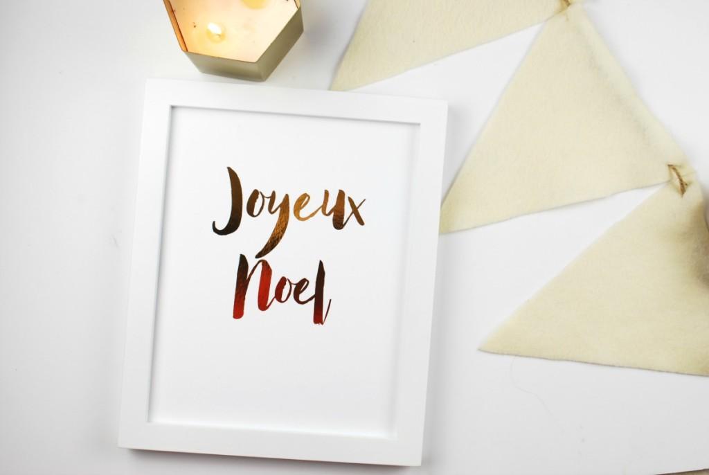 GOLD FOIL PRINT JOYEUX NOEL
