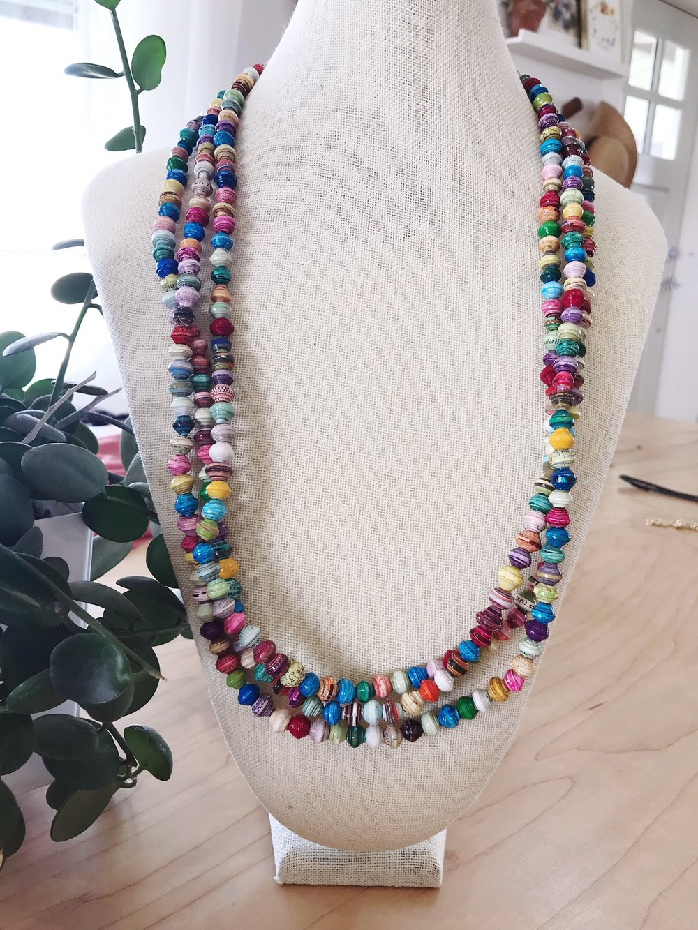 Paper Bead Necklace $15