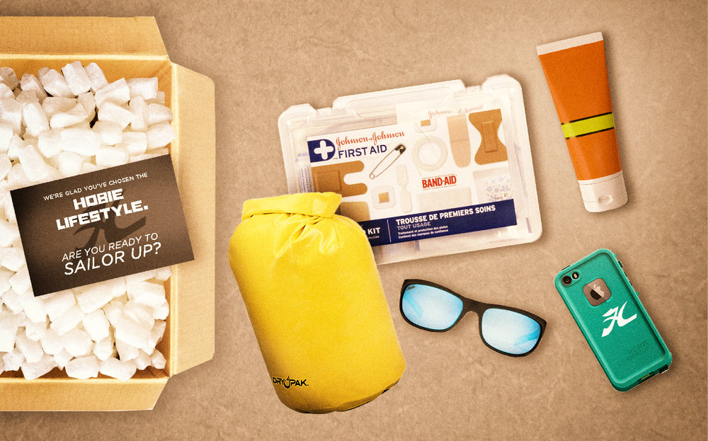 First aid kit, dry bag, LifeProof phone case, zinc sunscreen, and some sunglasses of course.