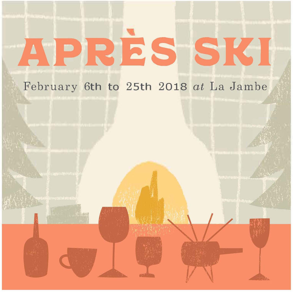Après Ski 2018(sorry you missed it but it'll be back next winter!) - La Jambe is now transformed into a cozy and warm winter wonderland just as you'd long for, after a day on the slopes of the French Alps. A special menu will be offered featuring seasonal Alpine favorites including Raclette, Boeuf Bourguignon, Duck Confit, Aligot, Tartine Montagnarde. Vin chaud (French-style mulled wine), Savoie wines and specialty cocktails inspired by the après ski experience will also be available.And the star of the show this year will be FONDUE, that we will be offering for groups of 3 to 6 upon reservation.So bring out your skis and mittens and come get cozy with us!