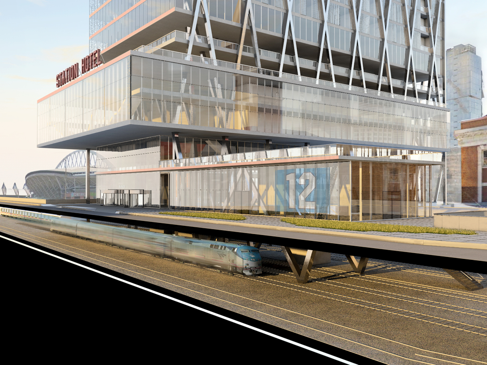 EXTERIOR RENDER - SECTION CUT SHOWING PLATFORM BELOW