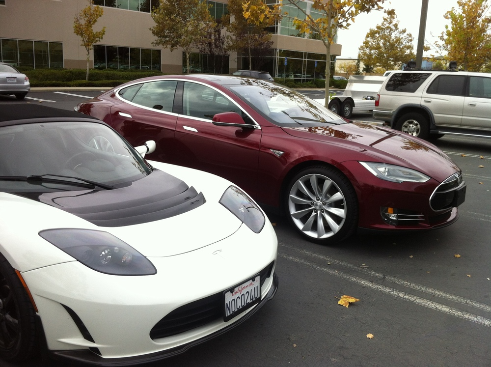Bonnie's Roadster & Jason S' brand new Model S