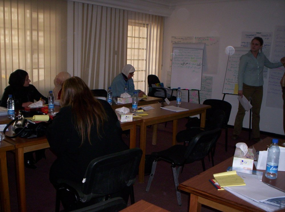 Sara teaching a seminar in Iraq circa 2005. Image courtesy of Sara Johnson-Steffey.