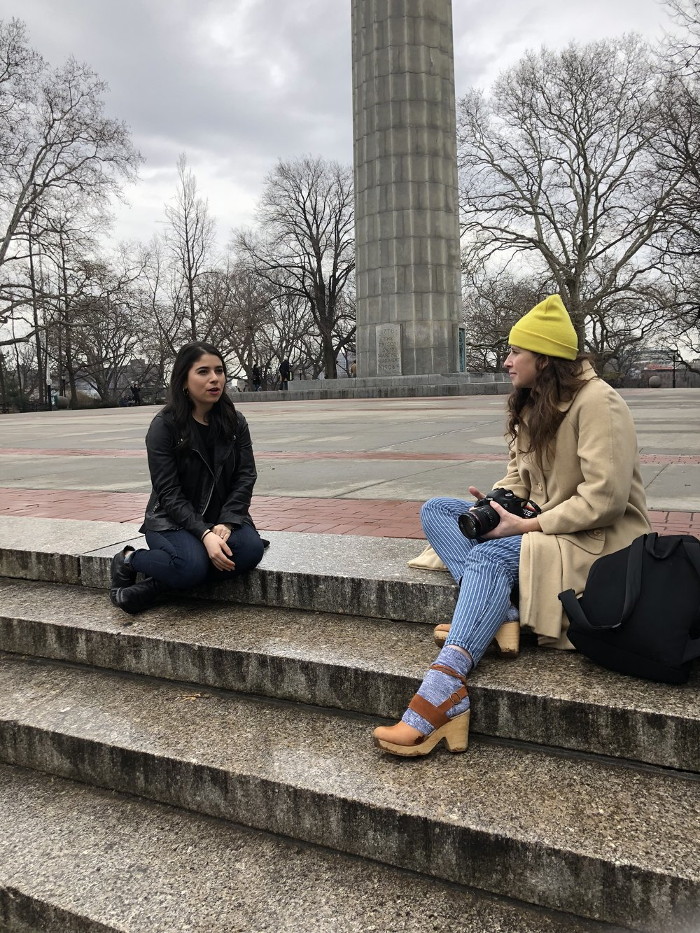 Elizabeth (right) on location at a shoot.  (Image courtesy of Elizabeth Rudge)