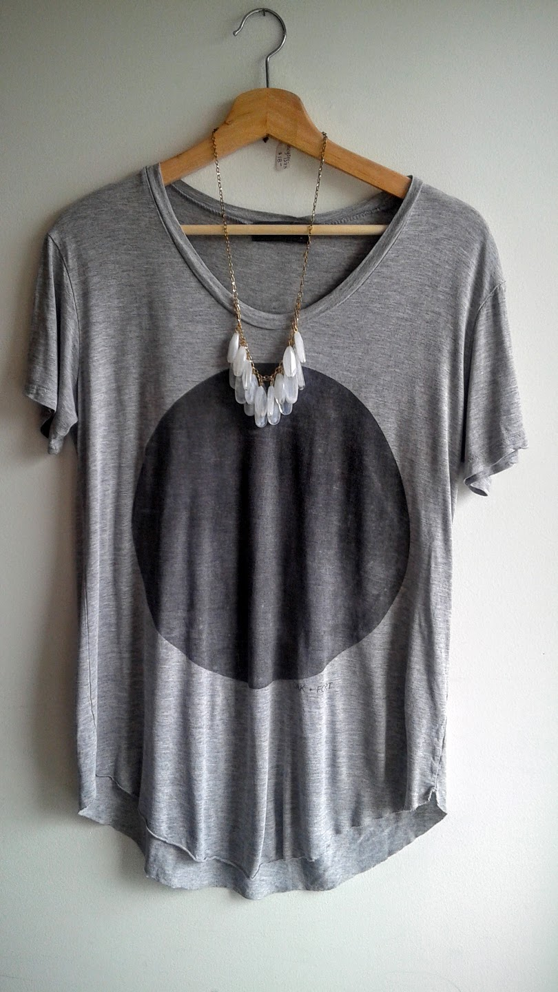 Oak + Fort t-shirt; size M, $26; Necklace $18