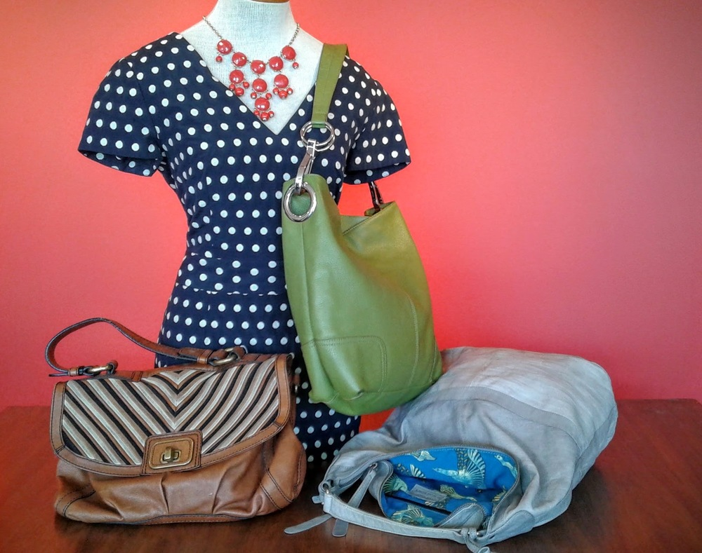 Fossil purse, $75; Green purse, $75; Topshop purse $42; Banana Republic dress, S6, $42; Necklace $38.