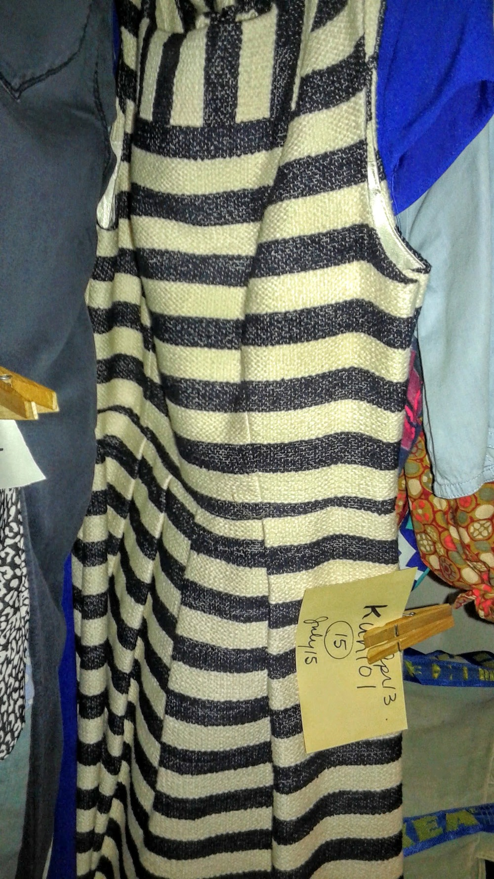Stripped dress in a nubby/tweedy material