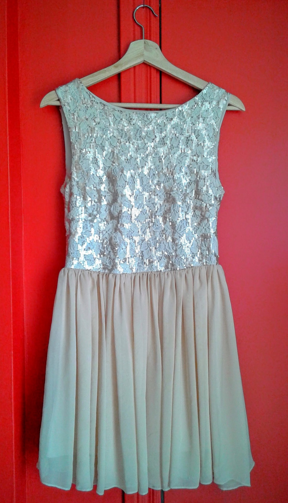 Peaches and cream dress; Size M, $24