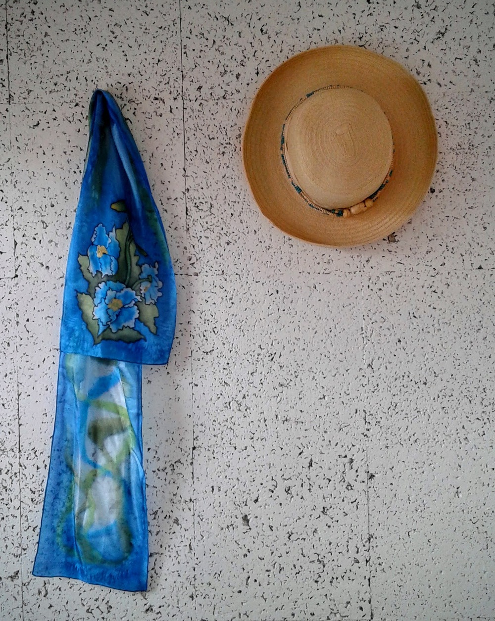 Painted silk-scarf (NWT), $16; Hat $16