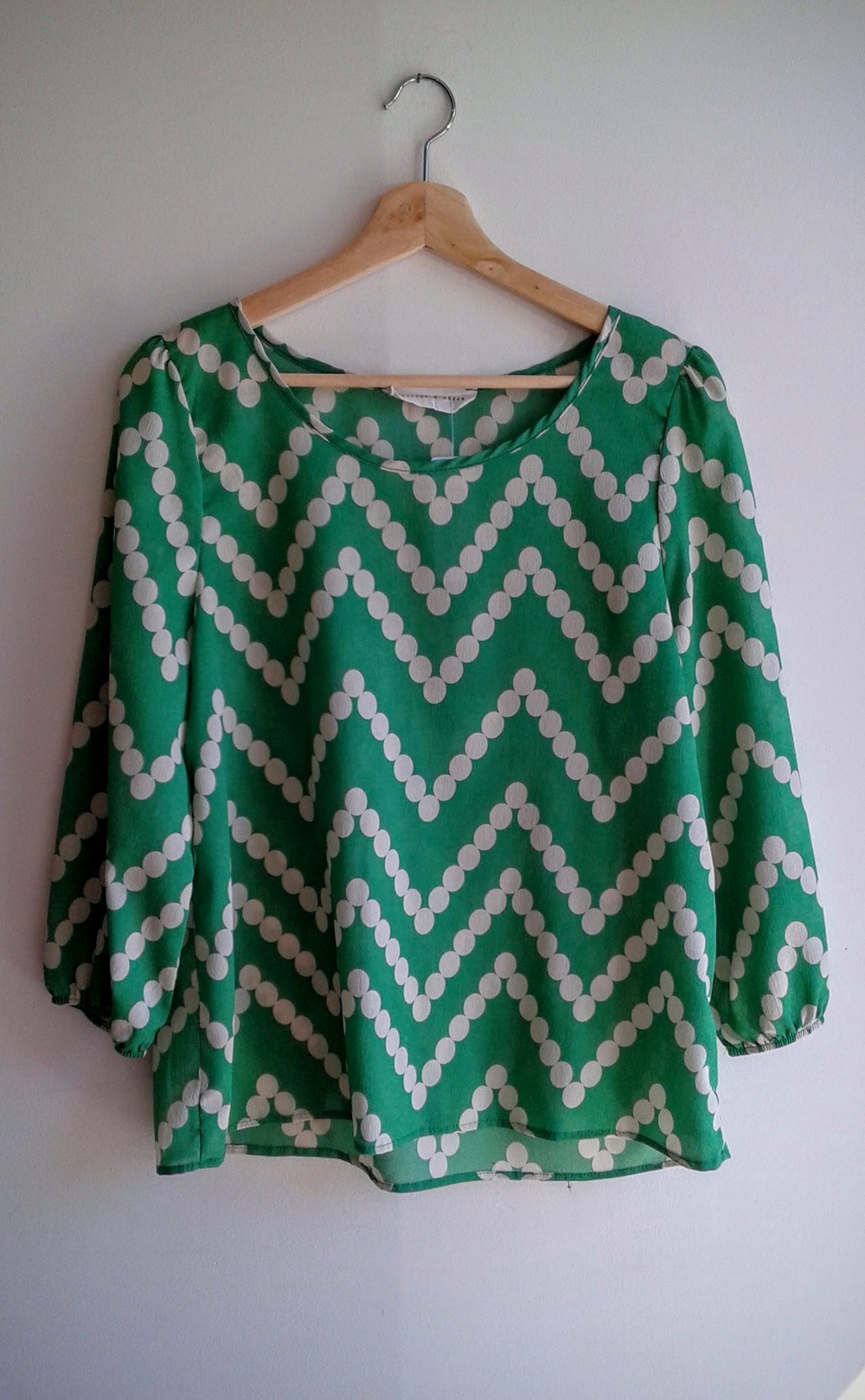 Green dot top; Size M, $22