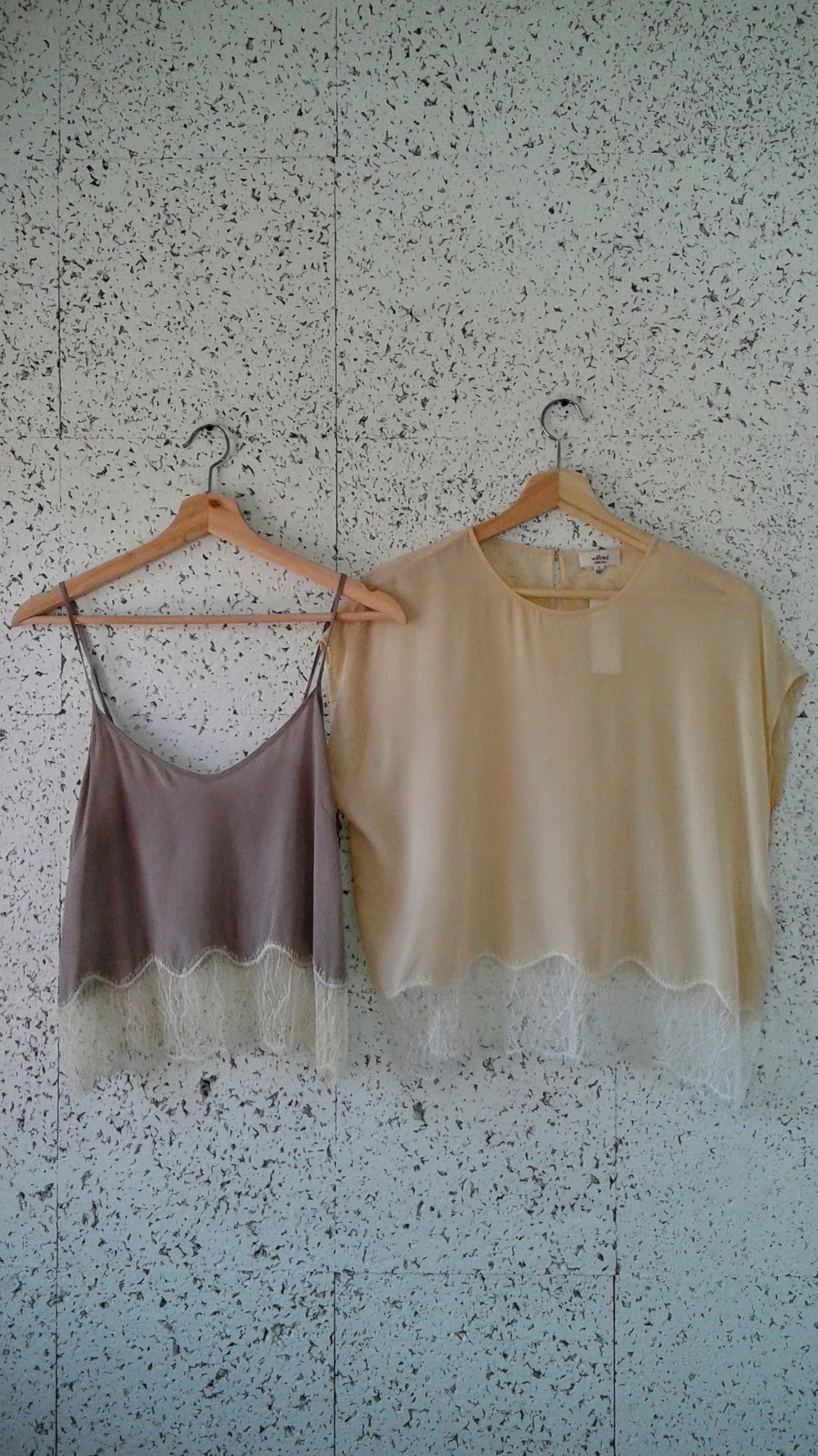 Wilfred  tops: Grey, Size M, $26; Cream, Size S, $32