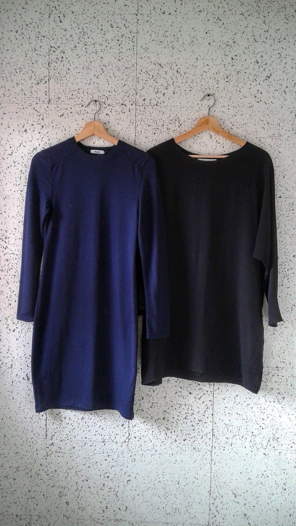 Blue Noul dress; Size S, $42.Black Noul tunic; Size M, $48