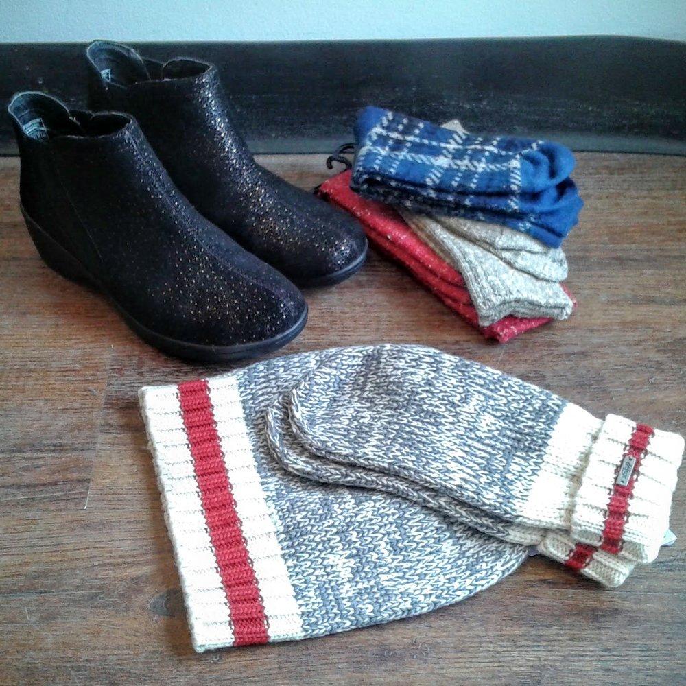 Skecher boots S8, $46;Hue socks, $14-$16; DeLux merino wool mittens, $24;DeLux merino wool tuque, $28
