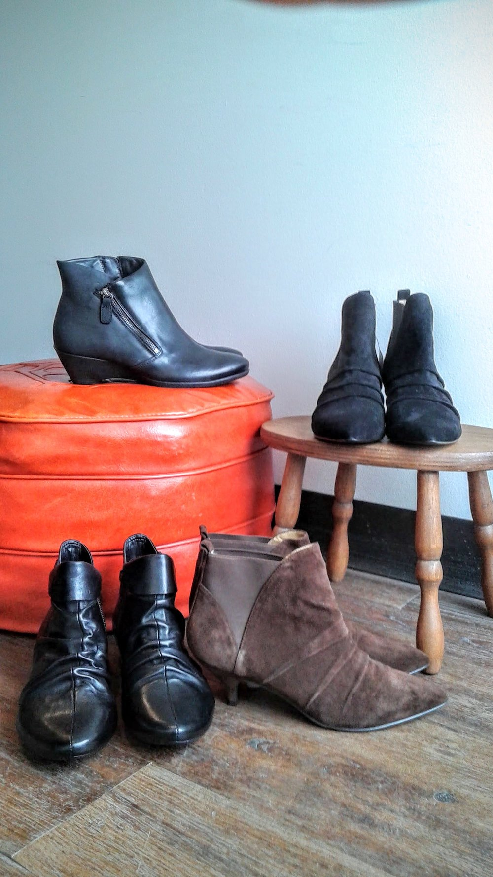 Clarks, S7, $46; Nine West black, S7, $46; Nine West brown, S7, $46; Ecco boots, S6.5, $62