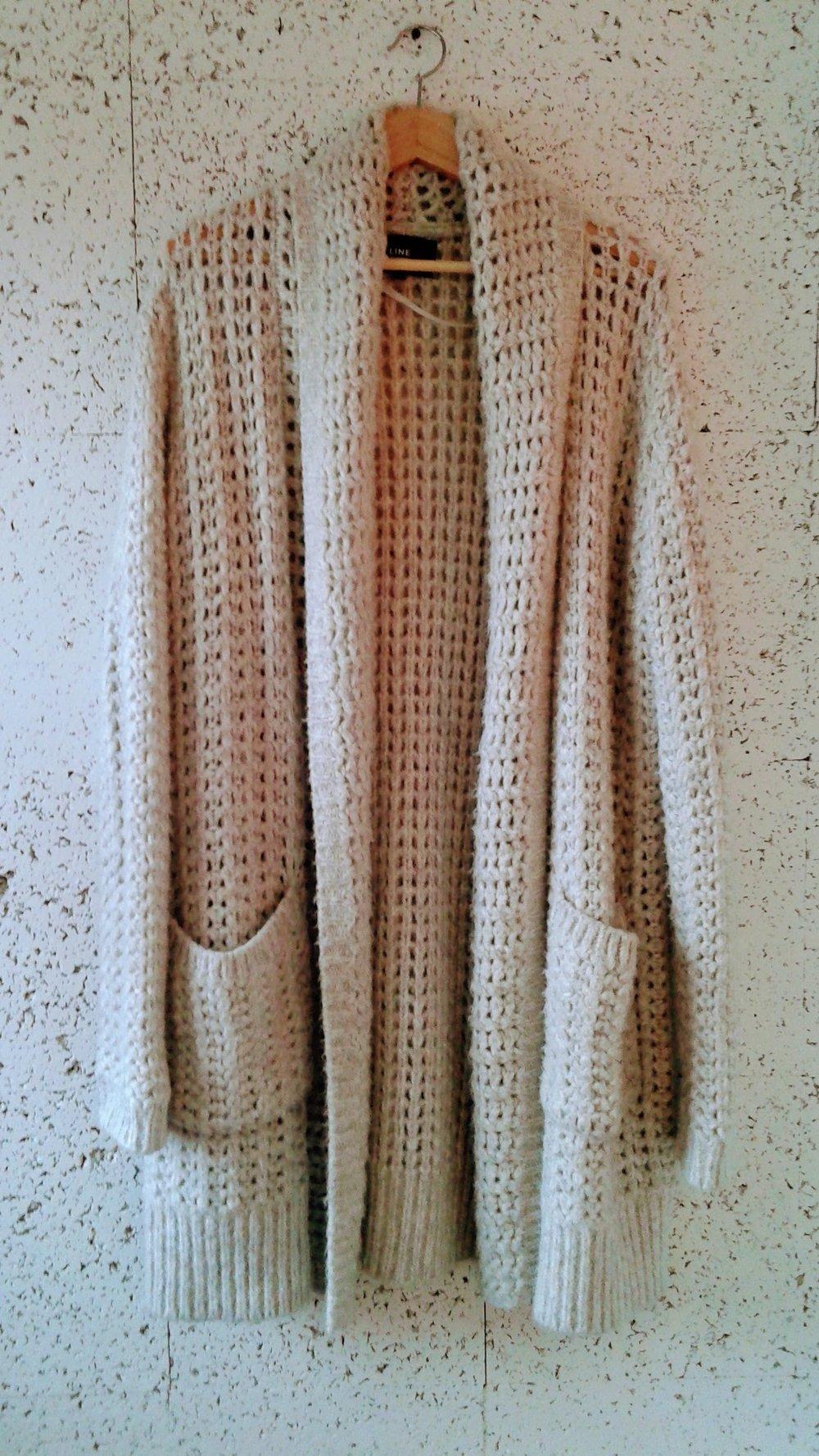 Line  cardigan; Size L, $58
