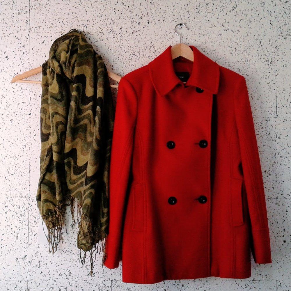 Mexx coat; Size L, $72. Scarf, $16