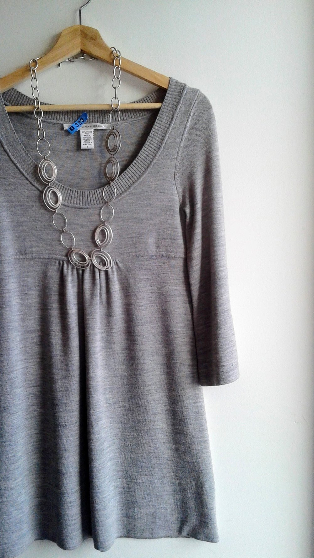 Diane von Fürstenberg dress; Size S, $58. Necklace, $26