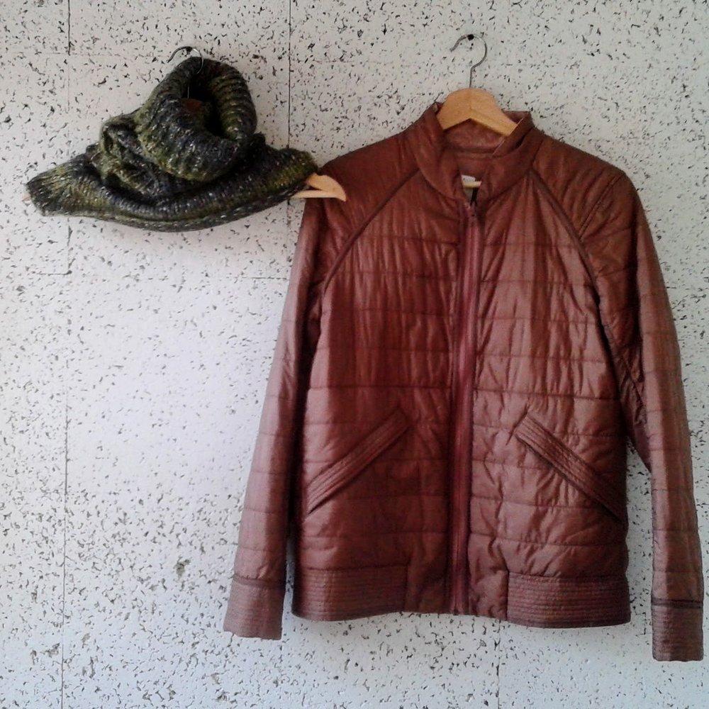 Lululemon jacket; Size M, $48. Cowl, $16
