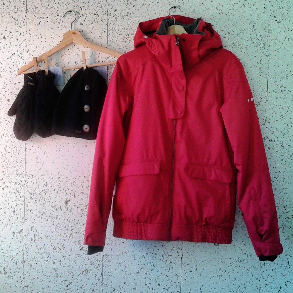 Roxy coat; Size L, $62. DeLux wool mittens, $18; DeLux merino hat, $24