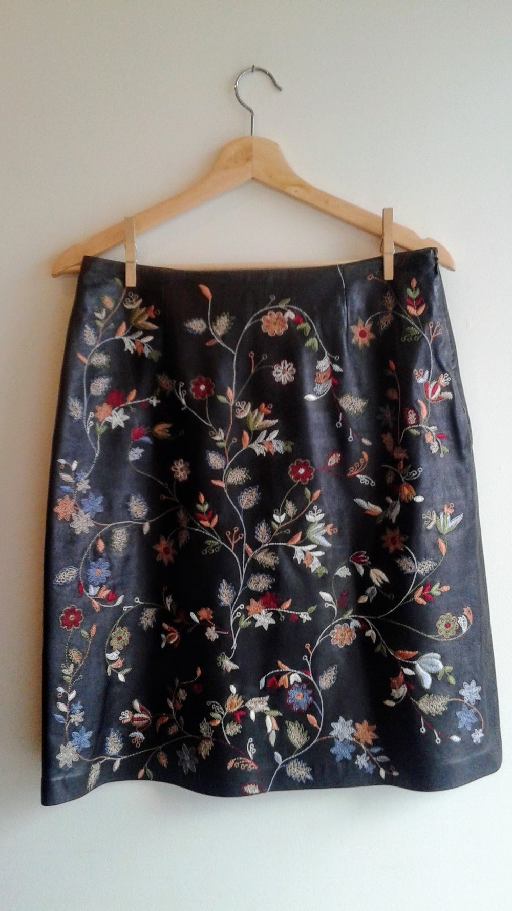 Danier leather skirt; Size 8, $48
