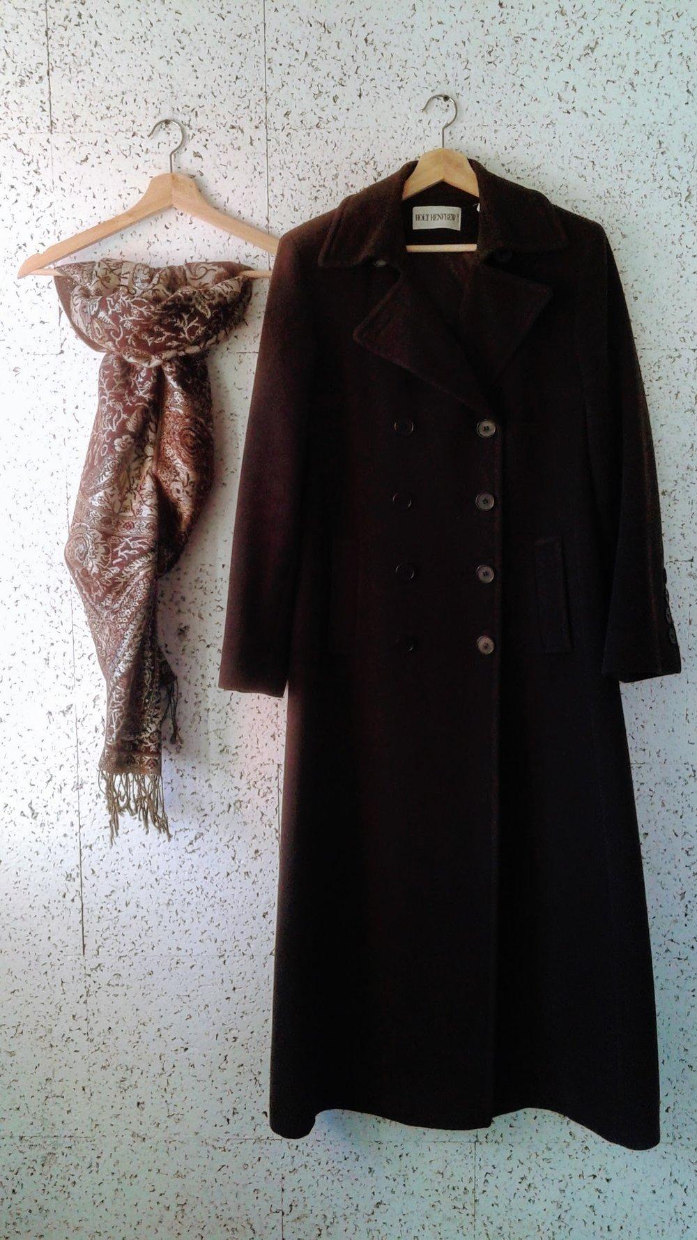 Holt Renfrew coat; Size 8, $110. Pashmina, $18