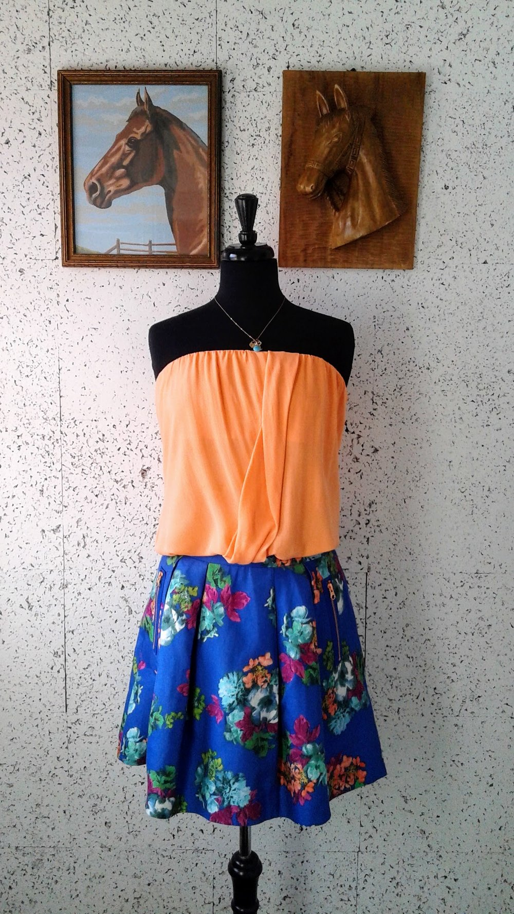 Alice and Olivia  top; Size M, $26. Maeve skirt; Size 4, $28. Necklace, $10