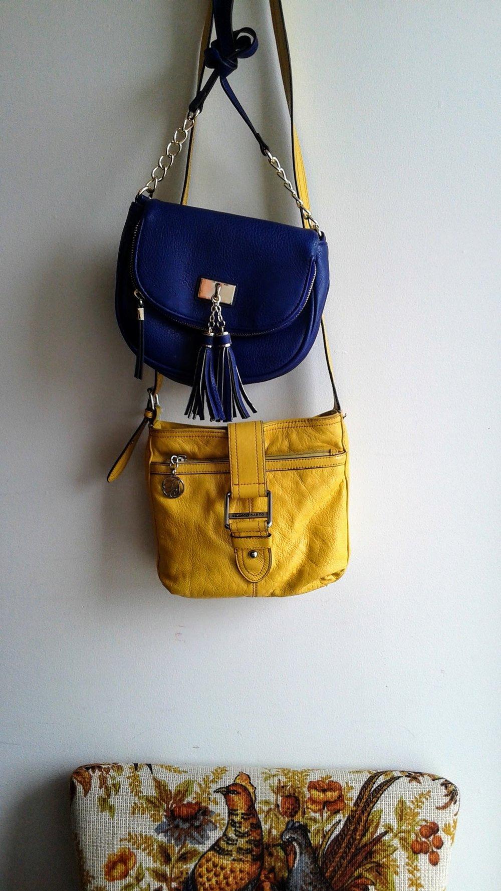 Blue purse, $20; Yellow Franco Sarto purse, $32