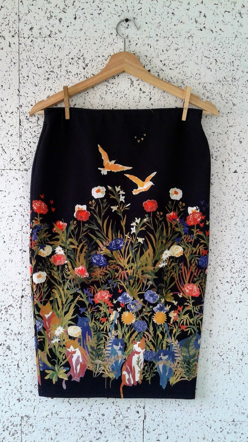 Birds, Flowers and Cats skirt; Size M, $24
