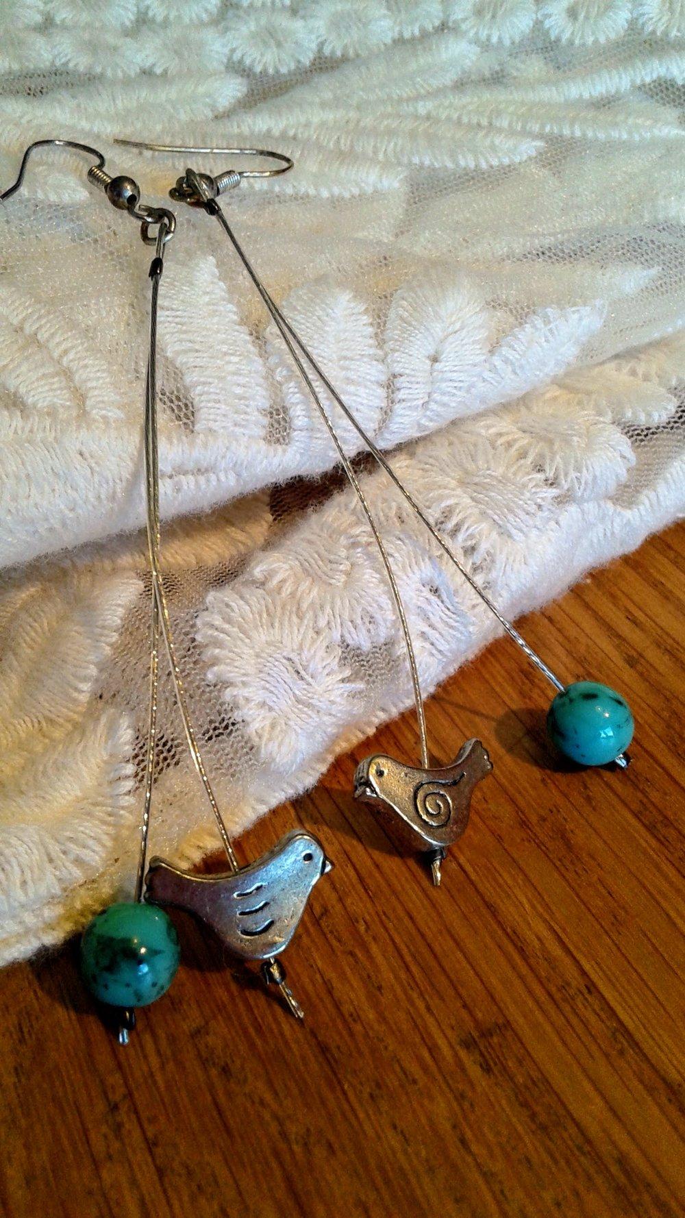 Bird earrings, $12