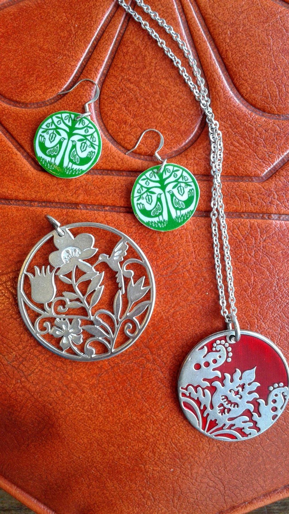 Earrings, $14; Necklace, $16; Pendant, $16
