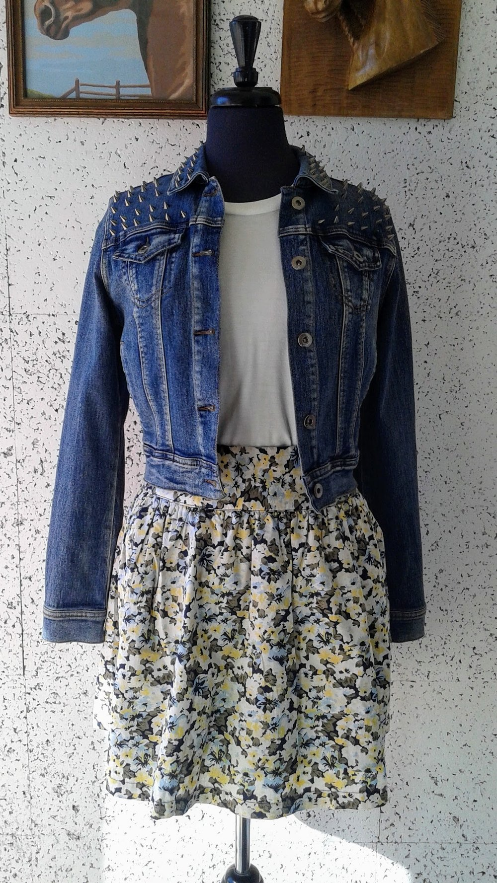 Denim jacket; Size S, $30. Vero Moda skirt; Size S, $22