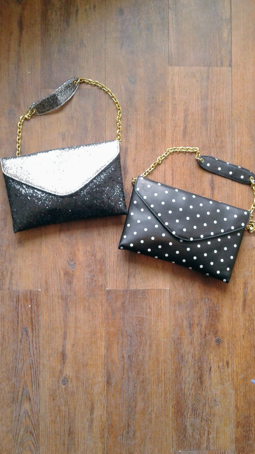 J Crew sprakley purse, $38. J Crew dots purse, $32